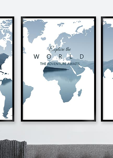 Posters - Worldmap explore blue