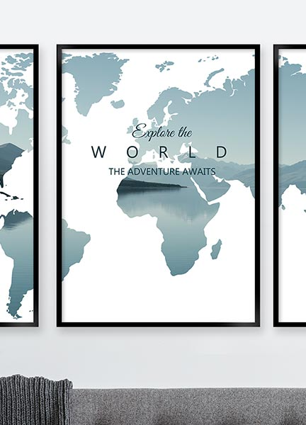 Posters - Worldmap explore green
