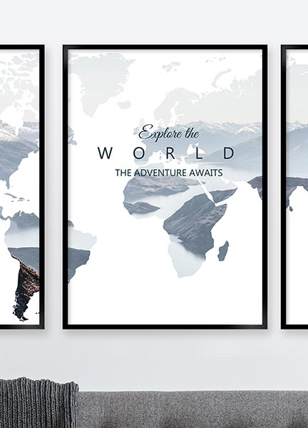 Posters - Worldmap explore white